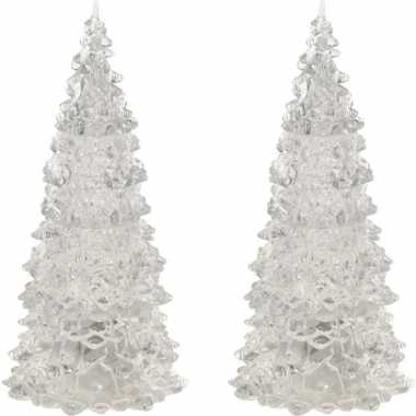 2x stuks verlichte figuren acryl kerstboom piramides 12 cm