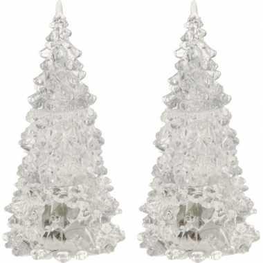 2x stuks verlichte figuren acryl kerstboom piramides 17 cm