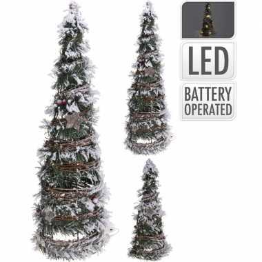 Decoratie kerstboom kegel met led licht op batterij 40 cm