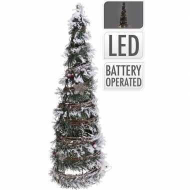 Decoratie kerstboom kegel met led licht op batterij 60 cm