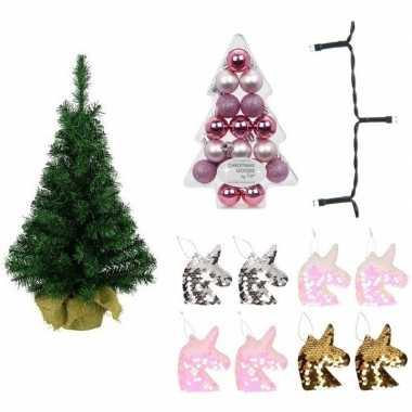 Eenhoorn/unicorn kerstboom met verlichting en kerstballen 75 cm