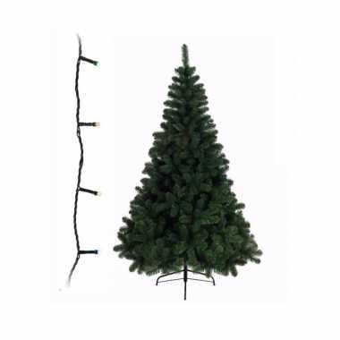 Groene kunst kerstboom 210 cm inclusief gekleurde kerstboom verlichting