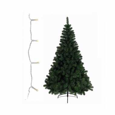 Groene kunst kerstboom 210 cm inclusief warm witte kerstboom verlichting