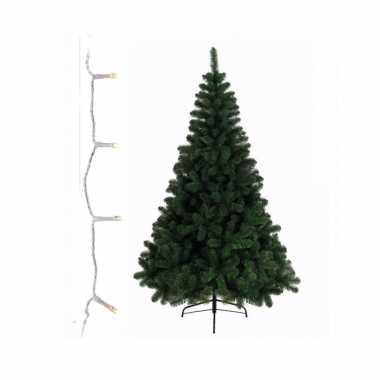 Groene kunst kerstboom 240 cm inclusief warm witte kerstboom verlichting