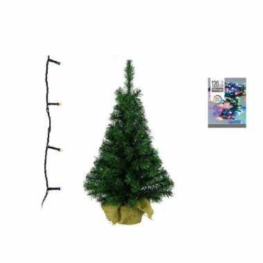 Groene kunst kerstboom 90 cm inclusief gekleurde kerstboom verlichting