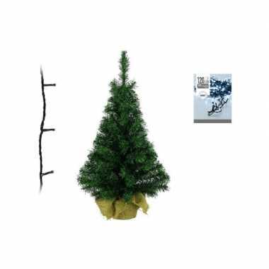 Groene kunst kerstboom 90 cm inclusief helder witte kerstboom verlichting