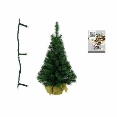 Groene kunst kerstboom 90 cm inclusief warm witte kerstboom verlichting