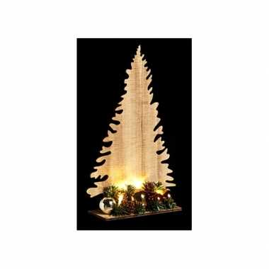 Houten kerstboom naturel met licht 30 cm