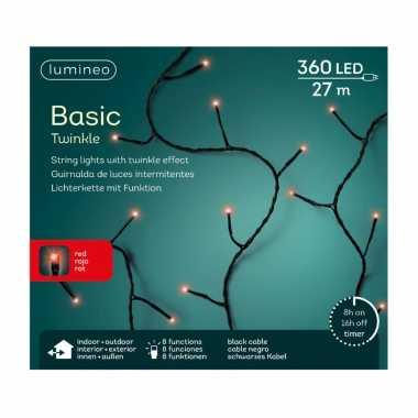 Kerstboom verlichting twinkle met timer rood buiten 360 lampjes