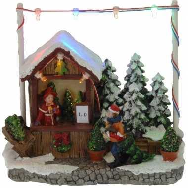 Kerstdorp kerstboom kraampje/winkeltje 16 cm met led verlichting