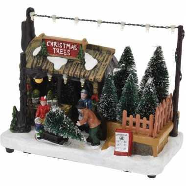 Kerstdorp kerstboom kraampje/winkeltje 17 cm met led verlichting
