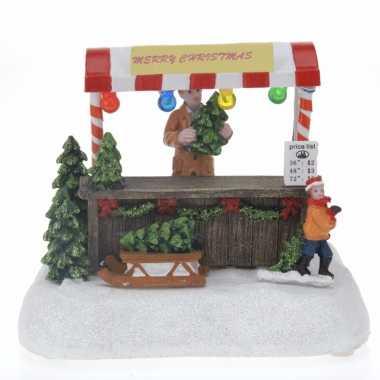 Kerstdorp maken verkoopstalletje met led licht kerstboom