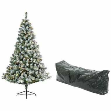 Kunst kerstboom 180 cm met sneeuw/verlichting en opbergzak