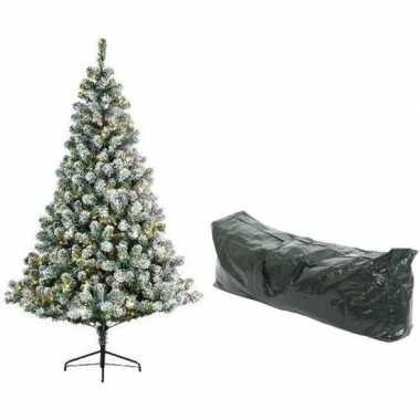 Kunst kerstboom 210 cm met sneeuw/verlichting en opbergzak