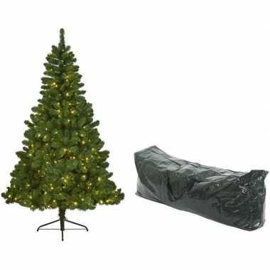 Kunst kerstboom imperial pine 180 cm met lichtjes en opbergzak