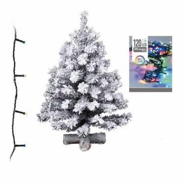 Kunst kerstboom met sneeuw 90 cm inclusief gekleurde kerstboom verlichting