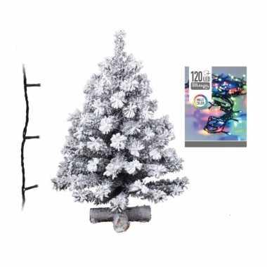 Kunst kerstboom met sneeuw 90 cm inclusief helder witte kerstboom verlichting