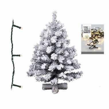 Kunst kerstboom met sneeuw 90 cm inclusief warm witte kerstboom verlichting