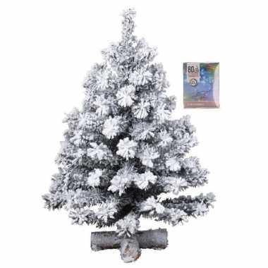 Kunst kerstboompje groen met sneeuw 60 cm inclusief gekleurde kerstboom verlichting