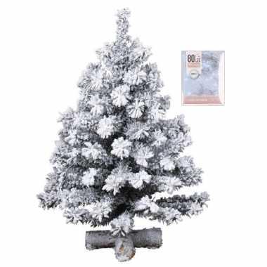 Kunst kerstboompje groen met sneeuw 60 cm inclusief helder witte kerstboom verlichting