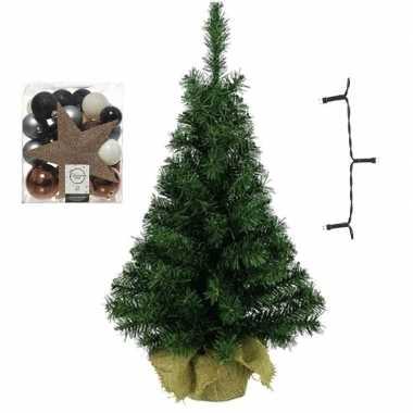 Mini kerstboom inclusief lampjes en blauw/champagne versiering
