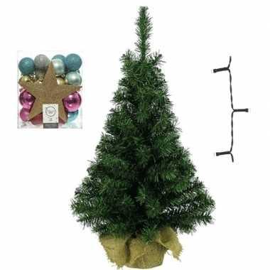 Mini kerstboom inclusief lampjes en goud/fuchsia versiering