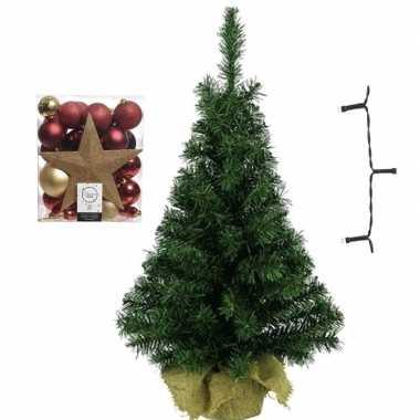 Mini kerstboom inclusief lampjes en goud/rode versiering