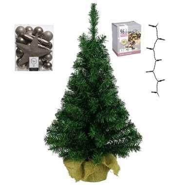 Mini kerstboom inclusief lampjes en kasjmier bruine versiering