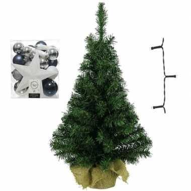 Mini kerstboom inclusief lampjes en wit/zilver/blauwe versiering