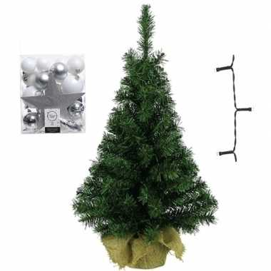 Mini kerstboom inclusief lampjes en wit/zilveren versiering