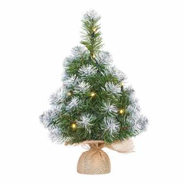 Mini kunst kerstboom/kunstboom in jute zak met verlichting en sneeuw 45 cm