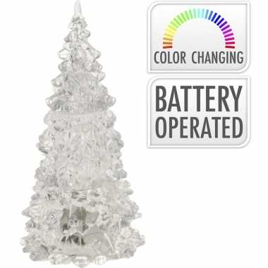 Verlichte figuren acryl kerstboom piramide 17 cm