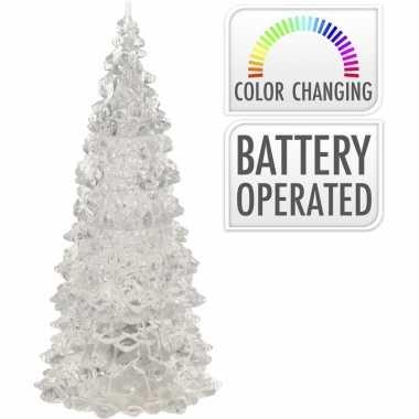 Verlichte figuren acryl kerstboom piramides 12 cm