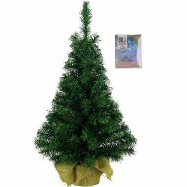 Volle kerstboom in jute zak 60 cm inclusief gekleurde kerstboom verlichting