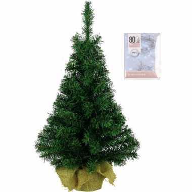 Volle kerstboom in jute zak 60 cm inclusief helder witte kerstboom verlichting
