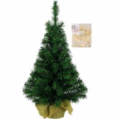 Volle kerstboom in jute zak 60 cm inclusief warm witte kerstboom verlichting