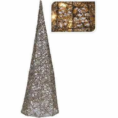 Zilveren kerstboom verlichting kegel piramide 40 cm