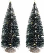 2x kerstdorp onderdelen kerstboom 22 cm met led verlichting