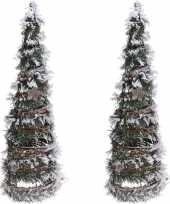 2x stuks kerstboom decoratie kegels met led licht op batterij 40 cm