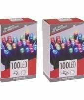 2x stuks kerstboom verlichting budget gekleurd buiten 100 lampjes