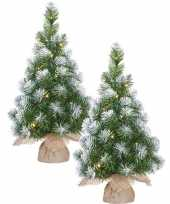 2x stuks kunst kerstboom kunstboom in jute zak met verlichting en sneeuw 60 cm