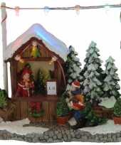 Kerstdorp kerstboom kraampje winkeltje 16 cm met led verlichting
