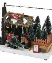 Kerstdorp kerstboom kraampje winkeltje 17 cm met led verlichting