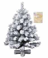 Kunst kerstboompje groen met sneeuw 60 cm inclusief warm witte kerstboom verlichting